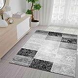 VIMODA Designer Teppich Modern Kariert, Marmor Muster, Meliert in Grau Schwarz Weiss - ÖKO TEX Zertifiziert, Maße:200 x 290 cm