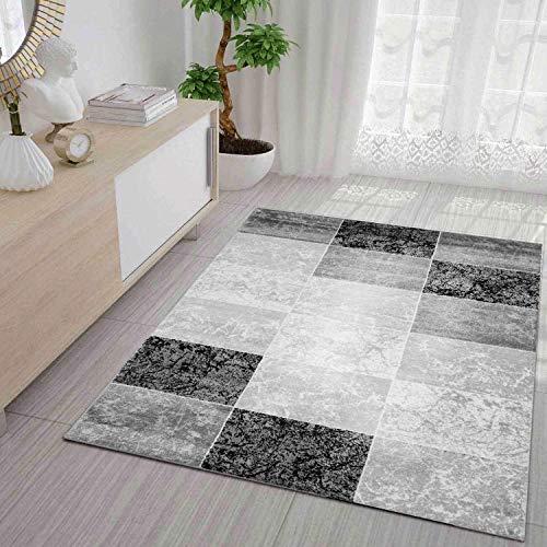 VIMODA Designer Teppich Modern Kariert Marmor Muster Meliert in Grau Schwarz Weiss 120x170 cm (Amazon Teppiche)