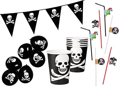 19tlg Piraten Party Set Girlande Luftballons Pappbecher Strohhalm Kindergeburtstag Deko von Alsino Set 1 (Piraten-totenkopf-dekor)