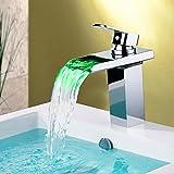 G&Z Mitigeur d'évier de lavabo Commande de tempé- rature de robinet 3 couleurs Changé par hydro-alimentation monocommande d'un seul trou Robinet de cascade de salle de bain en laiton chromé