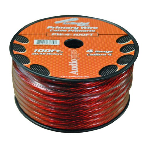 Audiopipe Power Wire 4GA 100' RED -