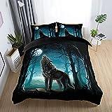 135x200cm Luxus 2 STeilig 3D Tier Wald Wolf Blaues Grau Bettwäsche Set mit Reißverschluss, Cat Mond Winter Herbst Bettbezug Set Mann 1 Person (Wolf)
