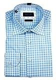 Profuomo Originale Herren Langarm Hemd Regular Fit blau/weiß kariert mit Patch PPIH1A091 (Blau, 42)