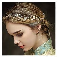 Crystal Bridal Hair Bands, Vintage Rhinestones Headband Wedding Pearl Hair Wreath with Leaf Hair Party Accessories