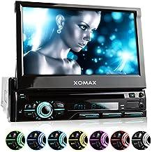 XOMAX XM-DTSB928 autoradio con 18 cm (7 pulgadas) LCD pantalla táctil + Bluetooth dispositivo manos libres y función de reproducción + código libre DVD / CD reproductor + Ranura de extensión por SD – tarjetas y USB conexión + Audio y Vídeo entretenimiento: MP3 WMA MPEG4 AVI DivX + iluminación del teclado es ajustable: azul, rojo y mucho más + Protección contra robo + conexión por retrovisor y por subwoofer + Single / solo DIN (DIN 1) medida estándar para el montaje + incluido mando a distancia