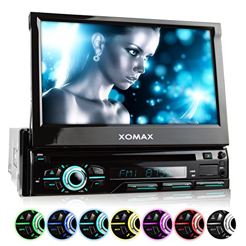 XOMAX-XM-DTSB928-Autoradio-Moniceiver-avec-18-cm-7-cran-tactile-Bluetooth-kit-mains-libres-code-libre-Lecteur-DVD-Lecteur-CD-carte-SD-connexion-USB-mp3-WMA-MPEG4-AVI-DivX-Simple-DIN-DIN-1-Lecteur-mult