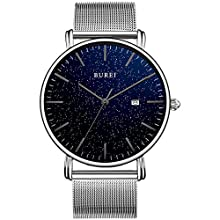 BUREI Men's Watches Ultra Thin Gypsophila Series Minimalist Quartz with Date Display