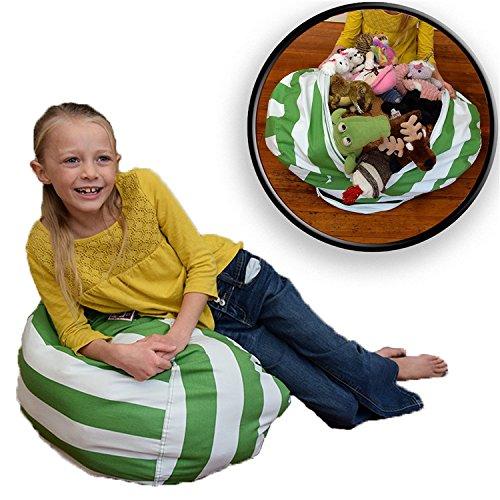 quner Green Stripe Stofftier Storage Spielzeug Organizer Stofftier Sitzsack Baumwolle Organizer Box für Kinder Spielzeug Haushalt Supplies (Storage Premium Box-grün)
