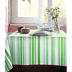 Mantel Antimanchas Sintra rayas 50%algodón 50%poliéster con protección de resina y Teflón de Dupont(R) - 160x160 - Verde