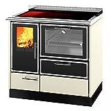 Edilkamin KS0573 KE 90 H Wasserführender Küchenofen Elfenbein mit Edelstahl-Profilen, Keramik-Kochplatte und Griffstange / A