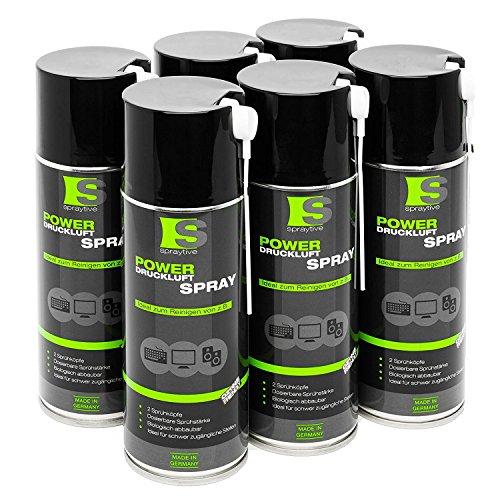 6 x 400ml Spraytive Power Druckluftspray/Druckluftreiniger mit 100mm Sprühverlängerung | Druckluft aus der Dose (Air Duster) | für die Reinigung von Tastatur, PC/Computer, Kamera | Made in Germany! -