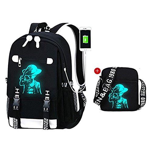 YOYOSHome Luminous Anime One Piece Cosplay Daypack Bookbag Laptop Tasche Rucksack Schultasche mit USB-Ladeanschluss