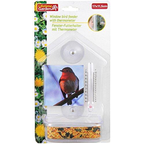 Vogelnapf Futterhalter Vogelfutternapf Fenster Thermometer Napf Vögel Spender