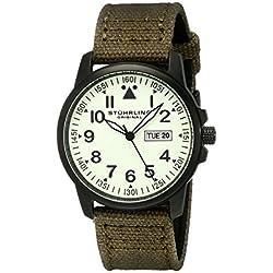 Stuhrling Original Aviator Men's Quartz Watch with Mint Green Dial Analogue Display and Green Fabric Strap 850.04