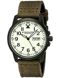 Stührling Original 850.04 - Reloj analógico para hombre, correa de tela y cuero, color verde