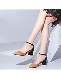 Jqdyl High Heels Damen Einzel Schuhe Grobe Fersen High Heels Vier Jahreszeiten