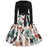 Huacat Frauen Weihnachtskleid Musiknote Print Kleid Rundhals Reißverschluss Hepburn Party Kleider...