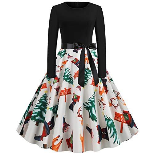 SomeTeam Damenmode Weihnachten Print Kleid Rundhals Reißverschluss Hepburn Party Kleid Damenmode Weihnachten Print Langarm Bogen Big Swing Hepburn Kleid Rock Kleid