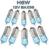 Jurmann Trade GmbH® 10 x Blue Vision Halogen Lampen H6W BAX9S 12V Ersatz Super White Standlicht