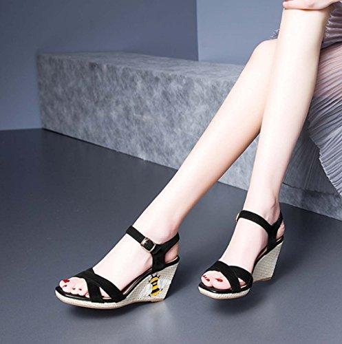 Cinturino in cinghia Sandali con cinghia traversa quadrata romana Piedi aperto a punta delle scarpe casual Black