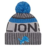 "Detroit Lions New Era 2017 NFL ""Sport Knit"" Cuffed Hat Hut with Pom - Graphite"