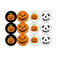 NUOBESTY Happy Halloween Decorations Pumpkin Ghost Candy Stickers Bag Stickers Gifts Classroom Game Prizes Supplies - 4pcs