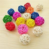 VORCOOL 50pcs 3cm madera BRINDILLE ratán mimbre bola casa boda decoración jardín colgante Decor (color Mix)