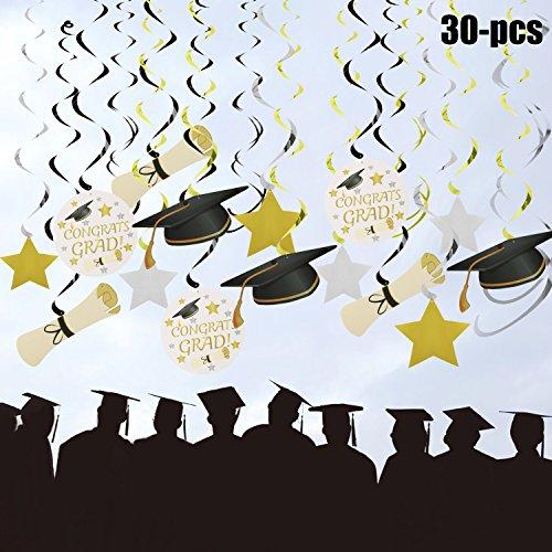 Funpa Graduación Colgar Remolino, 30 Piezas Colgar Remolino Decoración del Techo de la Graduación Colgante Espiral Guirnaldas Colgante Graduación Tema Fiesta Suministros Decoración con Sombrero