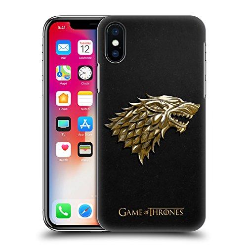 Ufficiale HBO Game Of Thrones Argento Targaryen Embossed Sigilli Cover Retro Rigida per Apple iPhone X Oro Stark