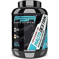 Carbohidratos de maltodextrina en polvo de la marca de deporte profesional FSA Nutrition®, Neutro, Bote de 1000 g