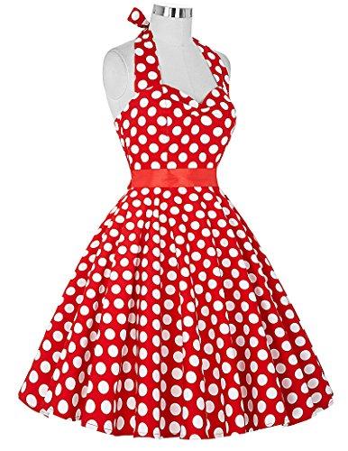 50s Retro Vintage Rockabilly Kleid Neckholder Festliches Kleid Petticoat Kleid CL6076-3