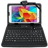Etui aspect cuir + clavier AZERTY intégré pour Samsung Galaxy Note 8.0, Galaxy Tab A 8.0 et Nokia N1 - stylet + chiffon DURAGADGET bonus et garantie de 5 ans