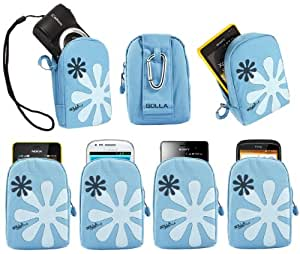 iTALKonline Golla Turquoise BLUE Flower Design Hama Dig Reef-L Bag Pouch Case Cover with Hook for Nikon CoolPix L27 Compact Digital Camera