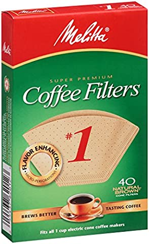 Melitta 620122 40 Count #1 Natural Brown Cone Coffee Filters (Pack of 5) by Melitta