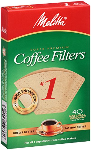 Price comparison product image Melitta Cone Coffee Filters, Natural Brown, No. 1, 40-Count Filters (Pack of 12)