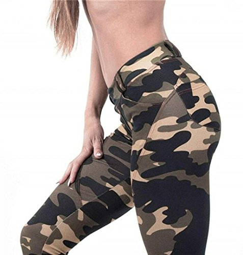 ZEZKT☀Armeegrün Tarnung Sport-Leggings Jogginghose Camouflage Printed Strumpfhose Leggins Hose Workout Stretch High Elastic Yoga Hosen Kompression Sport Lang Athletische Sporthose (L, Armeegrün) (Stretch-strumpfhosen Tanz)