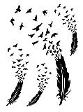 Temporäres Arm Fake Tattoo Feder zu Vogel Vögel Freiheit für Frauen Entfernbare Klebe Henna Tattoos Festival Abziehtattoo Folie Künstlich Schwarze Körperkunst Aufkleber Arm Sleeve Temporary