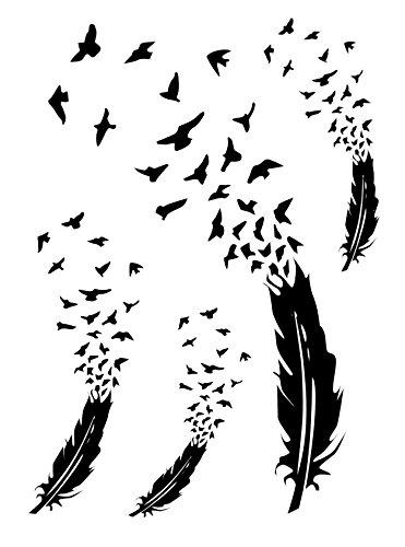 Tattoo Feder zu Vogel Vögel Freiheit für Frauen Entfernbare Klebe Henna Tattoos Festival Abziehtattoo Folie Künstlich Schwarze Körperkunst Aufkleber Arm Sleeve Temporary (Halloween Fake Tattoos)