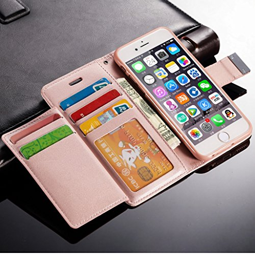 iPhone 5C Hülle,L-FADNUT Premium Flip Cover Case PU Leder Tasche,Dual-Kartensteckplitz Metall Megnetic Verschluss Wallet Card Holder Schutz Hülle Etui Schale for iPhone 5C - Schwarz Rose Gold
