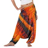 Batik Hippie Hose Haremshose Aladinhose Pumphose für Damen & Herren 36 38 40 42 Orange