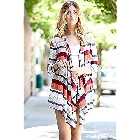 XJoel 3/4 donne cappotto maglione cardigan manica lunghi sciolti maglia outwear M