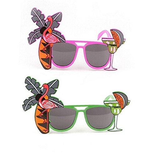 ICYANG 2Stück Sonnenbrille Flamingo Neuheit Cocktail Fruit Hawaiian Eyewear Fancy Dress Hen Party Beach Supplies