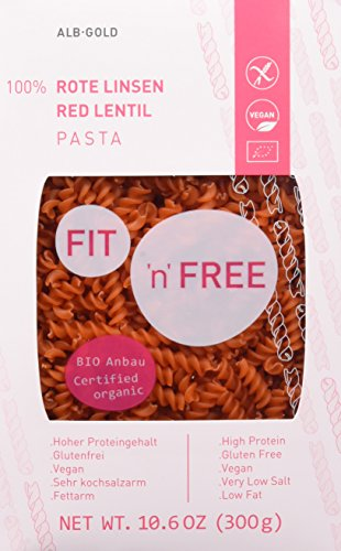 FIT \'n\' FREE Bio Rote Linsen Fusilli, 3er Pack (3 x 300 g)