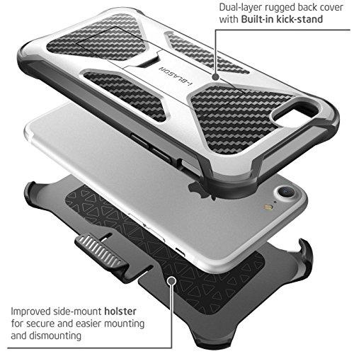 iPhone 7 Hülle, iPhone 8 Hülle, i-Blason Transformer Outdoor Schutzhülle Stoßfest Case Schale Dual Layer Cover mit Ständer und Gürtelclip für Apple iPhone 7 / iPhone 8, Schwarz blanco