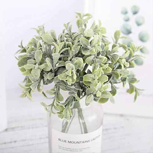 QYYDGH Retro Elegante schöne 6 Stücke Kunststoff Künstliche Blumen Gefälschte Eukalyptus Blätter Weiß Kleine Bouquet DIY Zubehör Faux Pflanzen Hochzeit Dekoration