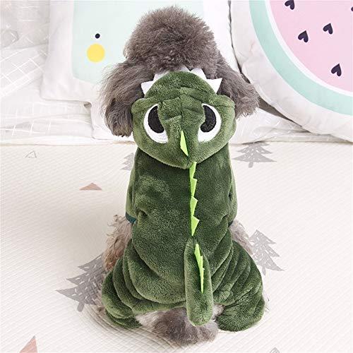 Tragen Kasten Kostüm Hunde - Dinosaurier Cosplay vierbeinige Kleidung weiche warme kleine und mittlere Hunde Haustierkleidung Herbst und Winter dicke Teddy Welpen Katze Kleidung (Color : Green, Size : Xs)