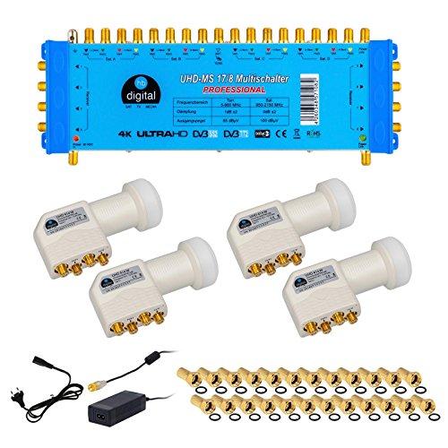 HB-Digital Quattro LNB Weiß + Multischalter pmse 17/8 von HB-DIGITAL bis zu 4x Satellit und bis zu 8 x Unabhängige Teilnehmer / Receiver für Full HDTV 3D 4K UHD mit Netzteil + 40 Vergoldete F-Stecker Gratis dazu