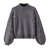 Btruely Sweatshirt Damen Winter Gestrickte Langarmshirt Frauen Pullover Groß Größe Oberteile Perle Sweater