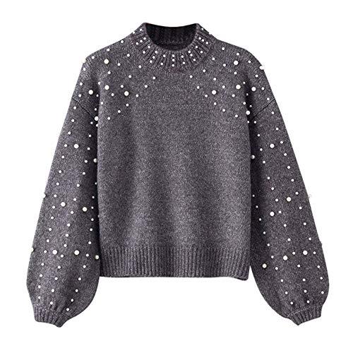 OIKAY Abverkauf Heißer Damen Winter Bluse Pullover Grau O Neck Langarm Perle Strickpullover