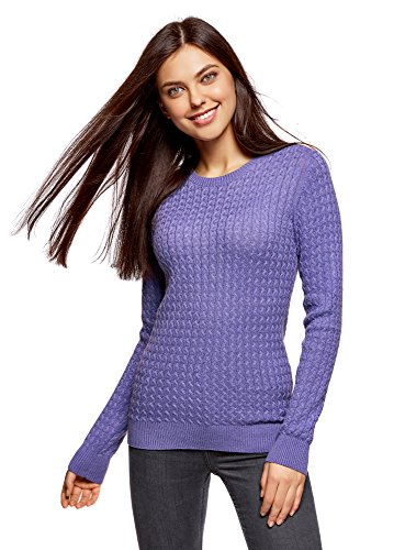 oodji Collection Women's Fine Cable Knit Pullover, Purple, UK 16/EU 46/XXL
